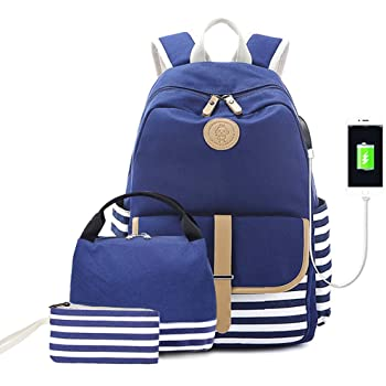 """Lmeison Backpack for College Women Girls, Lightweight Charging Bookbag with Lunch Bag Pencil Case, Canvas Travel Daypack 15.6"""" Laptop Bag Waterproof for School, Blue"""