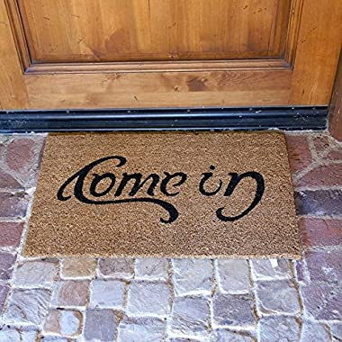 Rubber-Cal  Come In  Welcome Doormat Coir Doormat, 18 x 30-Inch