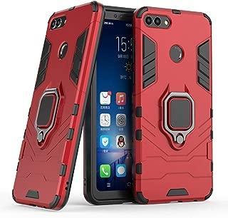 Compatible con Huawei Y9 (2018) Funda, Anillo Metálico Sujeción Soporte Antichoque Rígido Caja (Funciona con el Montaje de Coche Magnético) Doble Capa Sólido Case Carcasa para Huawei Y9 2018, Enjoy 8 Plus (Rojo)