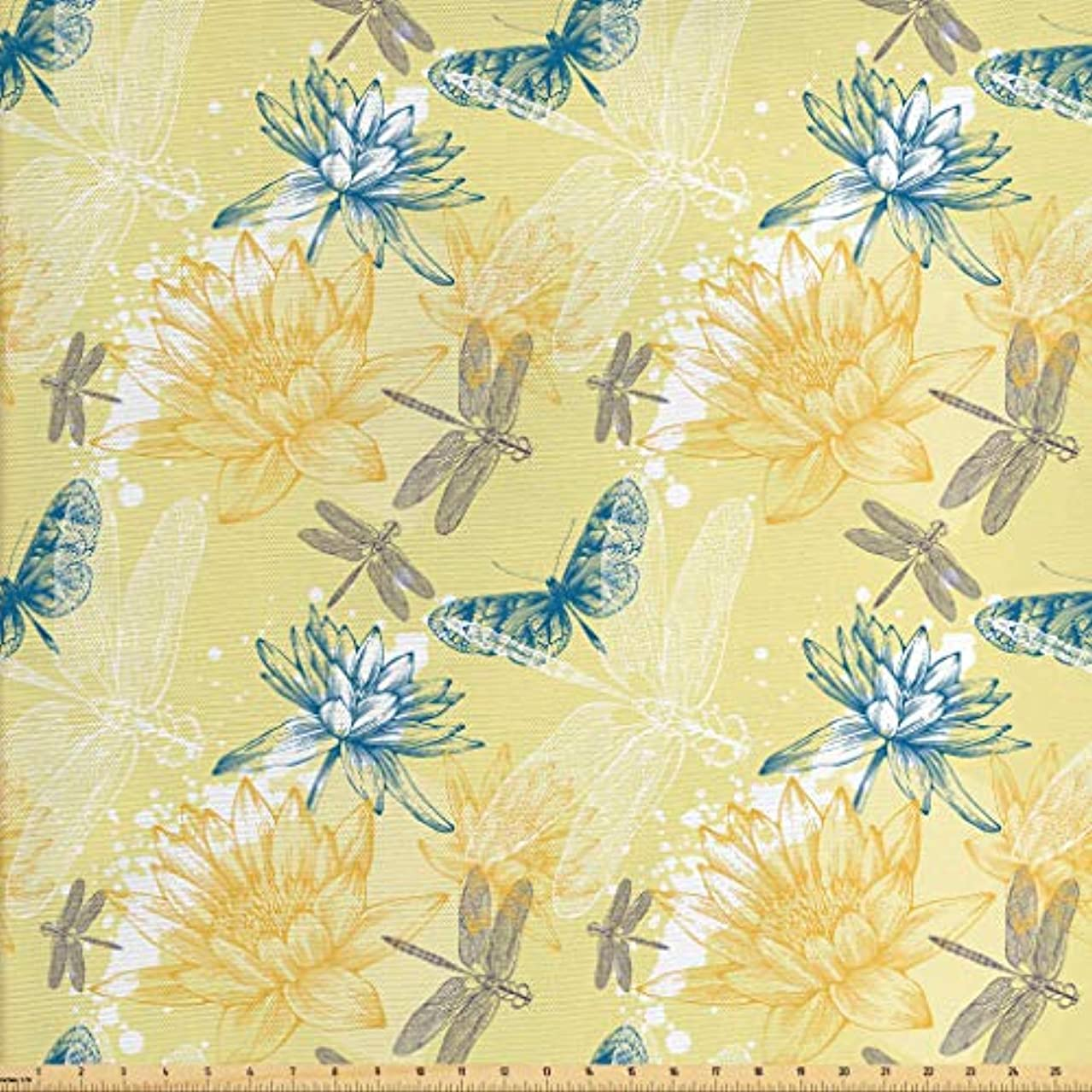 Lunarable Dragonfly Fabric The Yard, Boho Style Plants Dragonflies Sketchy Illustration, Decorative Fabric Upholstery Home Accents, 2 Yards, Yellow White Petrol Blue