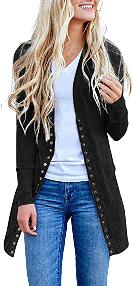 Rambling Women's Long Sleeve Snap Button Down Solid Color Knit Ribbed Neckline Cardigans