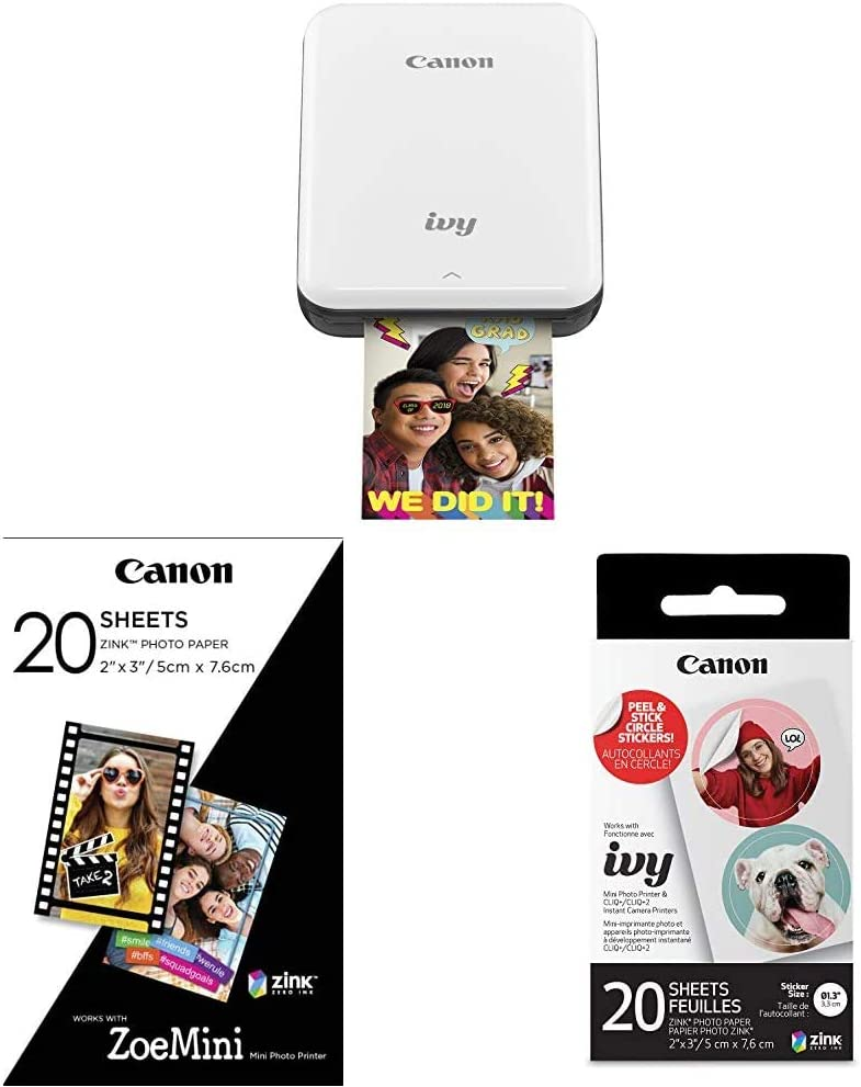 Canon Ivy Mobile Mini Photo Printer Through Bluetooth(R), Slate Gray with Canon Zink Photo Paper Pack, 20 Sheets, White, 2