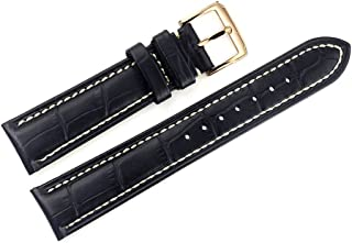 18mm Black Luxury Italian Leather Watch Straps/Bands Replacement Grosgrain White Stitching for High-