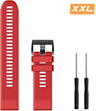 Notocity Compatible with Fenix 6 Watch Strap Large Size Silicone Watchbands 22mm Width Replacement for Fenix 5/Fenix 5 Plus/Fenix 6/Fenix 6 Pro/Forerunner 935/945/Approach S60/Quatix 5(Red)