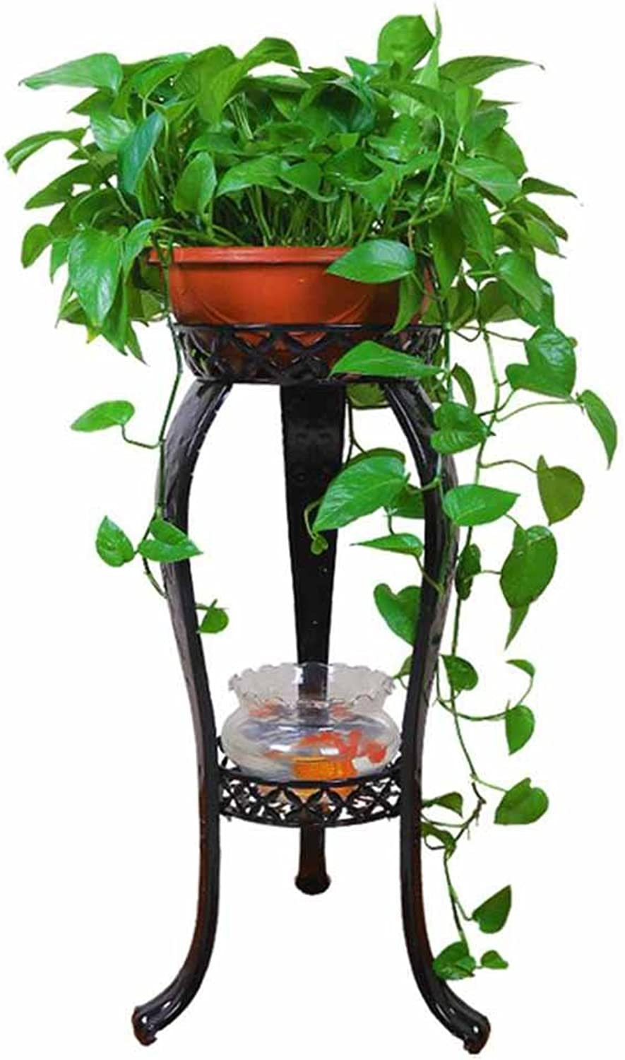 SYF Simple Modern Black 2 Layer Flower Stand   European Iron Living Room Balcony Flower Pot Shelf 40x81cm A+
