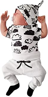 Hot Sale!Todaies Newborn 3pcs Toddler Baby Girl Boy Cloud Print T Shirt Tops+Pants Outfits Clothes Set (0-3M, White)