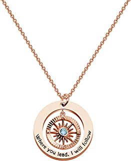 CHOORO Gilmore Girls Gift Mother Daughter Jewelry Where You Lead I Will Follow Compass Pendant Necklace Mother and Daughter
