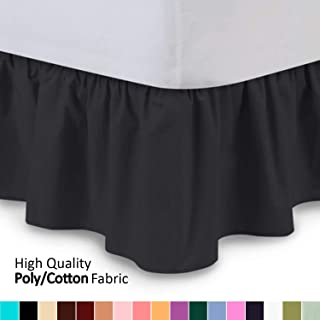 Shop Bedding Ruffled Bed Skirt (Queen, Black) 14 Inch Drop Dust Ruffle with Platform, Wrinkle and Fade Resistant - by Harmony Lane (Available in All Bed Sizes and 16 Colors)