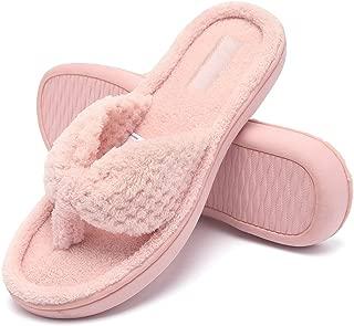 Womens Memory Foam Flip Flops Open Toe Slip on Spa Thong Slippers Anti-Skid House Shoes Indoor or Outdoor Slippers Plush Gridding Velvet Lining Clog Style