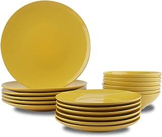 AmazonBasics 18-Piece Stoneware Dinnerware Set - Sunshine Yellow, Service for 6