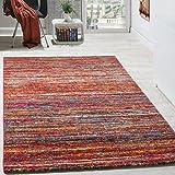 Paco Home Teppiche Modern Wohnzimmer Teppich Spezial Melierung Rot Multicolour Meliert, Grösse:80x150 cm