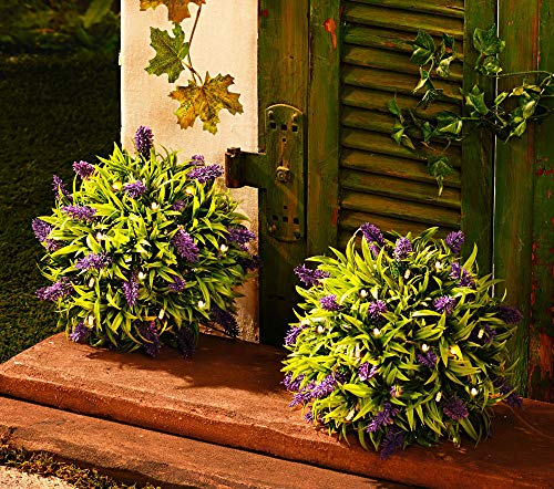 3-Pagen LED Solar Lavendel Kunstpflanze mit 10 LEDs - 2 Stück - Ø 25 cm - Buchsbaum Kugel künstliche Pflanze beleuchtet