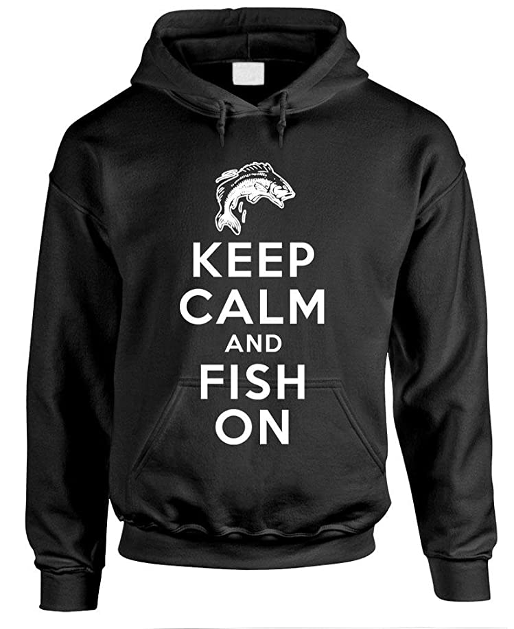 Keep Calm and Fish ON Bass Fisherman Gag - Mens Pullover Hoodie