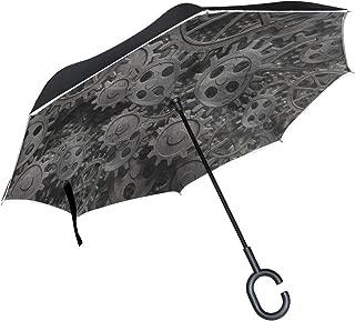 Reverse Umbrella Magic Metal Gear Machine Part Inverted Umbrella Reversible for Golf Car Travel Rain Outdoor Black