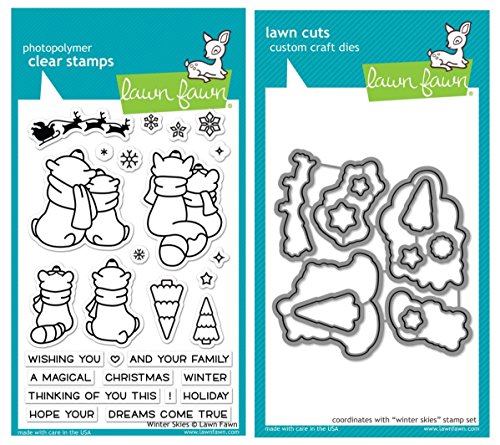 Lawn Fawn Winter Skies Clear Stamps and Coordinating Lawn Cuts Custom Craft Dies (LF1763, LF1764) Two Item Bundle