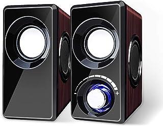OTOKU PC スピーカー 振動膜6枚まで 木製 USB LED 軽量 ステレオ サウンド 高音質 高互換性 レッドウッド パソコン ゲーム機などに対応 日本語説明書付き (レッド)
