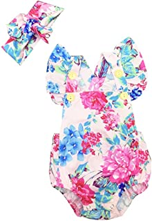 Weixinbuy Baby Girls' Rompers Jumpsuit Bodysuit Outfit + Headband 2PCS Set