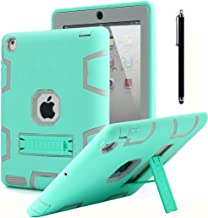 iPad 2 Case,iPad 3 Case,iPad 4 Case, AICase Kickstand Shockproof Heavy Duty High Impact Resistant Rugged Hybrid Three Layer Armor Full Body Protection Case with Stylus for iPad 2/3/4(Mint Blue+Grey)