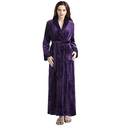 847433ee1b Long Bath Robe for Womens Plush Soft Fleece Bathrobes Nightgown Ladies Pajamas  Sleepwear Housecoat