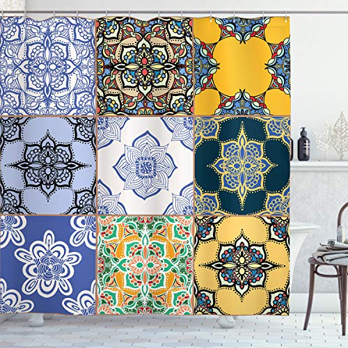 """Ambesonne Moroccan Shower Curtain, Inspired by Portuguese Tile Patterns in The Various Tones and Textures of Bohemian Print of Art, Cloth Fabric Bathroom Decor Set with Hooks, 70"""" Long, Ivory Yellow"""