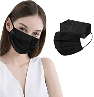 100 Pcs Disposable Face Masks, 3 Ply Face Masks Black Disposable Mask