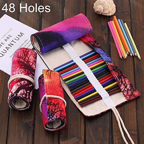 Ist Lijm 48 Slots Sonnenuntergang-Baum-Druck-Feder-Tasche Leinwand-Bleistift-Verpackungs-Vorhang Roll Up-Bleistift-Kasten-Briefpapier-Beutel Lager