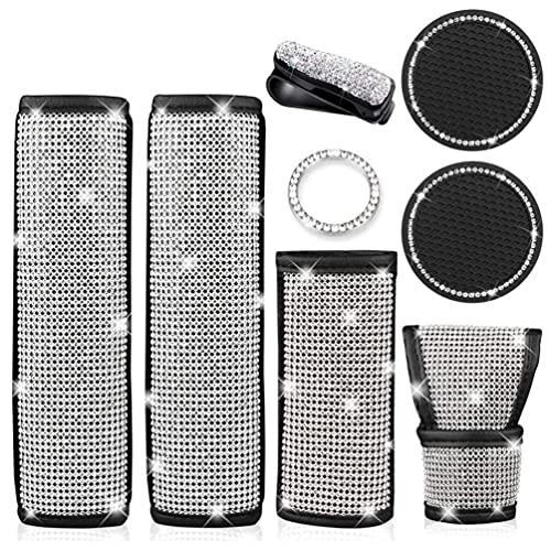 ZQSTUDIO 8 piezas de cuero de cristal de seguridad para cinturón de seguridad de seguridad, fundas de freno de mano con diamantes de imitación, juego de accesorios de coche para mujeres y niñas