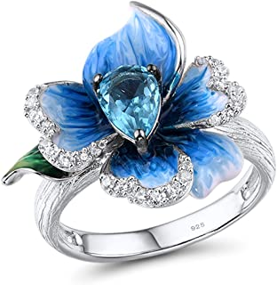 Santuza خواتم زهرة على شكل قلب 925 الفضة الاسترليني الرائعة الأزرق البرسيم المينا الدائري مجوهرات جميلة للنساء