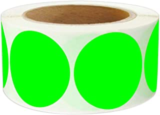 2 Inch Round Color - Code Dot Labels | Fluorescent Color Coding Colored Labels | 500 Permanent Adhesive Colored Circle Stickers Per Roll for Moving/Storage/Organizing/Color Coding/Arts (Green)
