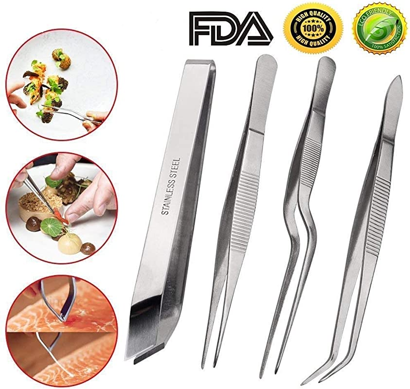 Ferbixo Tongs Tweezers 4 Piece Set Stainless Steel Tongs Tweezer With Chef Cooking Utensils Precision Serrated Tips Medical Beauty Utensils Tool Sets Silver
