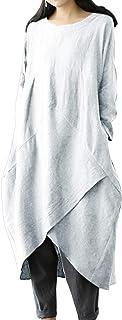 Jacansi Women Plus Size Long Sleeve Round Neck Cotton Linen Loose Long Kaftan Dress M-4XL