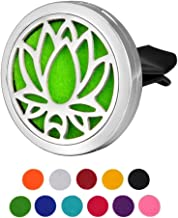 Car Air Freshener Aromatherapy Essential Oil Diffuser, Lotus Stainless Steel Locket,11 Refill Pads