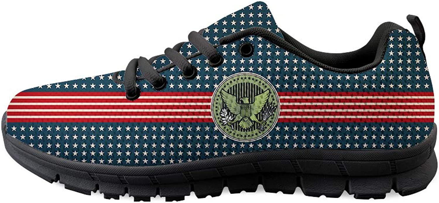 Owaheson Lace-up Sneaker Training shoes Mens Womens Stars and Stripes Bald Eagle Seal
