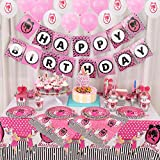 Nelton Party Supplies For Barbie Includes Cake Toppers , Cupcake Toppers and Wrappers, Balloons, Candy Boxes, Popcorn Boxes, Tablecloth, Party Hats, Trumpets, Plates, Paper Cups, Straws, Napkins, Knives, Forks, Spoons