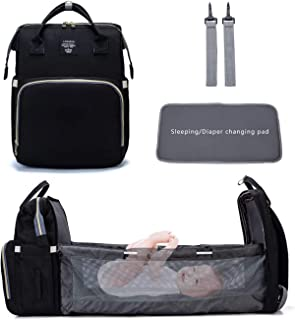 LOMS Multifunctional Mummy Bag,Bassinet Bag Functions as Diaper Bag and Changing Station,Foldable Nappy Backpacks Baby Be...