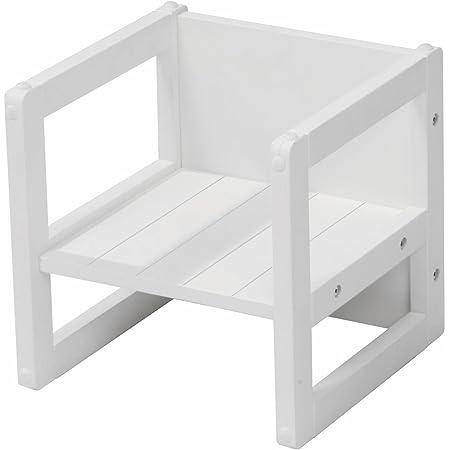 roba Tabouret pour les enfants en style maison de campagne, en tournant le tabouret il y a 3 possibilités différentes de positionner l'assise et donc 3 hauteurs différentes, MDF laqué en blanc.