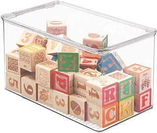 mDesign Bac à jouet – Rangement jouet avec couvercle pour des jouets rangés sur une étagère ou sous le lit - Rangement cha...