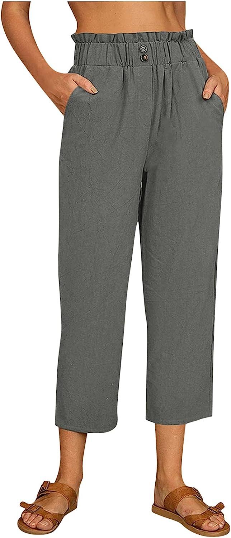 Lovor Women's Plus Size Capri Lounge Pants Crop Jogger Comfy Elastic Waist Cotton Straight Lounge Sweatpants with Pockets