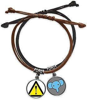 CaoGSH Bracelet en cuir avec symbole d'avertissement jaune et noir en forme d'éléphant