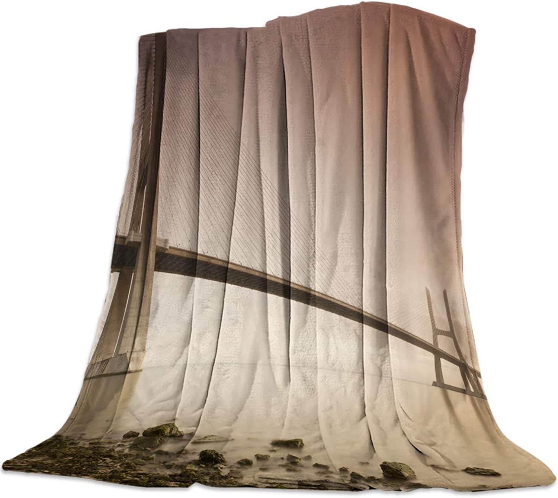 YEHO Art Gallery 49x59 Inch Flannel Fleece Bed Blanket Soft ThrowBlankets for Girls Boys,Retro Vasco da Gama Bridge Pattern,Cozy Lightweight Blankets for Bedroom Living Room Sofa Couch