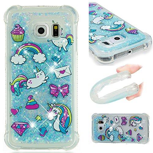 Samsung Galaxy S6 Edge Case, Cover for Galaxy S6 Edge,3D Glitter Liquid Cute Personalised Clear Silicone Gel Shockproof Phone Cover for Galaxy S6 Edge[Drop Protection, Non-slip]-12