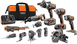 RIDGID 18-Volt Lithium-Ion Cordless (12-Piece) Combo Kit with (1) 4.0Ah Battery and (1) 2.0Ah Battery, Charger and Bag