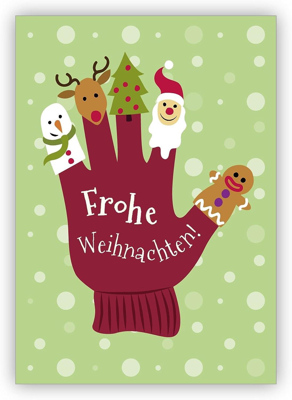 16 16 16 Weihnachtskarten (Klappgrußkarten, Neujahrskarten für Kunde, Mitarbeiter)  Lustige Weihnachtskarte mit Handschuh und Fingerpuppen  Frohe Weihnachten  B01M61KSCN | Marke  bedccc