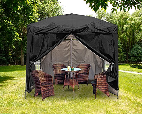 Greenbay Premium Black Pop-up Gazebo with Silver Protective Layer + 4 Leg Weight Bags + Carrying Bag 2.5x2.5M