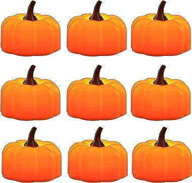 Advocator 12pcs Orange Pumpkin Tealights Small Pumpkin Flameless Candle Lights Battery Operated LED Tea Lights for Halloween