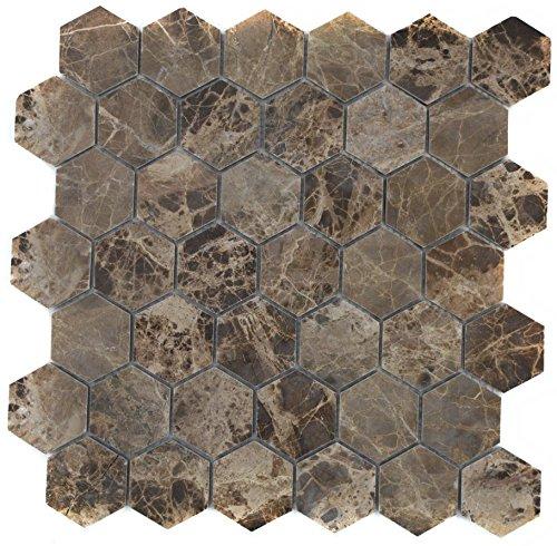 Mozaïek tegel marmer natuursteen Hexagon Impala bruin gepolijst voor vloer muur badkamer toilet douche keuken tegelspiegel tegelverkleeding badkuip mozaïekmat mozaïekplaat
