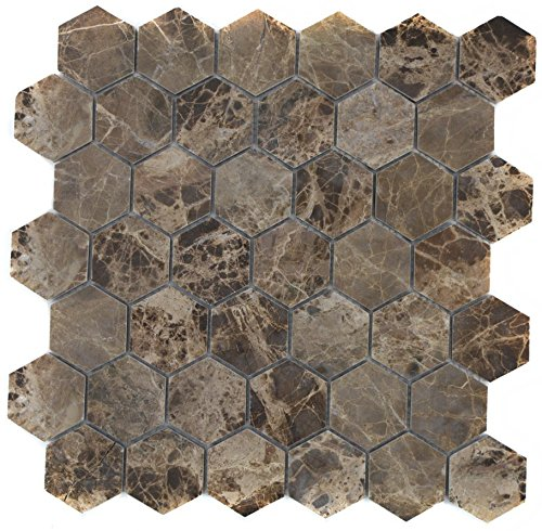 Mosaico Piastrelle Marmo naturale pietra Hexagon Impala marrone lucido per pavimento parete bagno doccia cucina Piastrelle Specchio banconi verkleidung badewannen verkleidung mosaico Matte mosaico Piastra