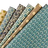 RUSPEPA Reversible Kraft Wrapping Paper Sheet - Navy Geometric Design Kraft Paper - 6 Sheets Packed...
