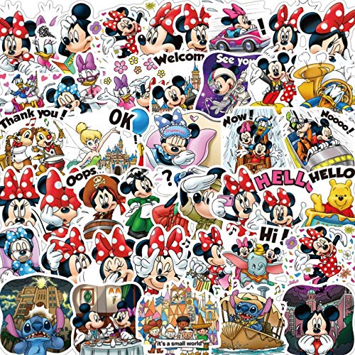 AXHZL Disney Mickey Mouse Sticker Mickey Unduplicated Kids Sticker Suitcase Guitar Character Doodle Stickers 50 Pcs