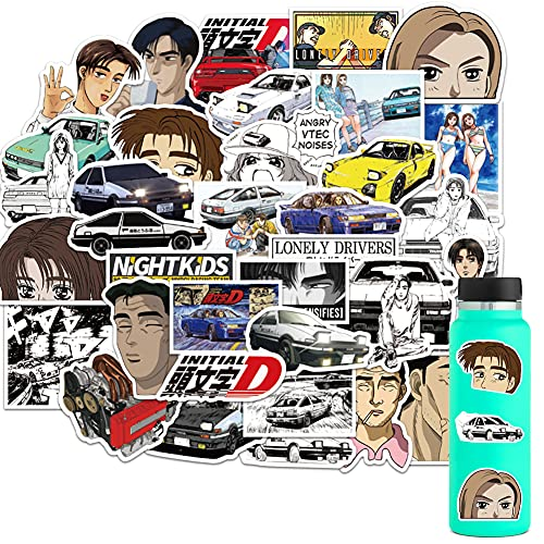 50PCS Initial D Stickers,Anime Stickers Vinyl Waterproof Stickers for HydroFlask Water Bottle Laptop Computer Skateboard MacBook for Teens and Adults